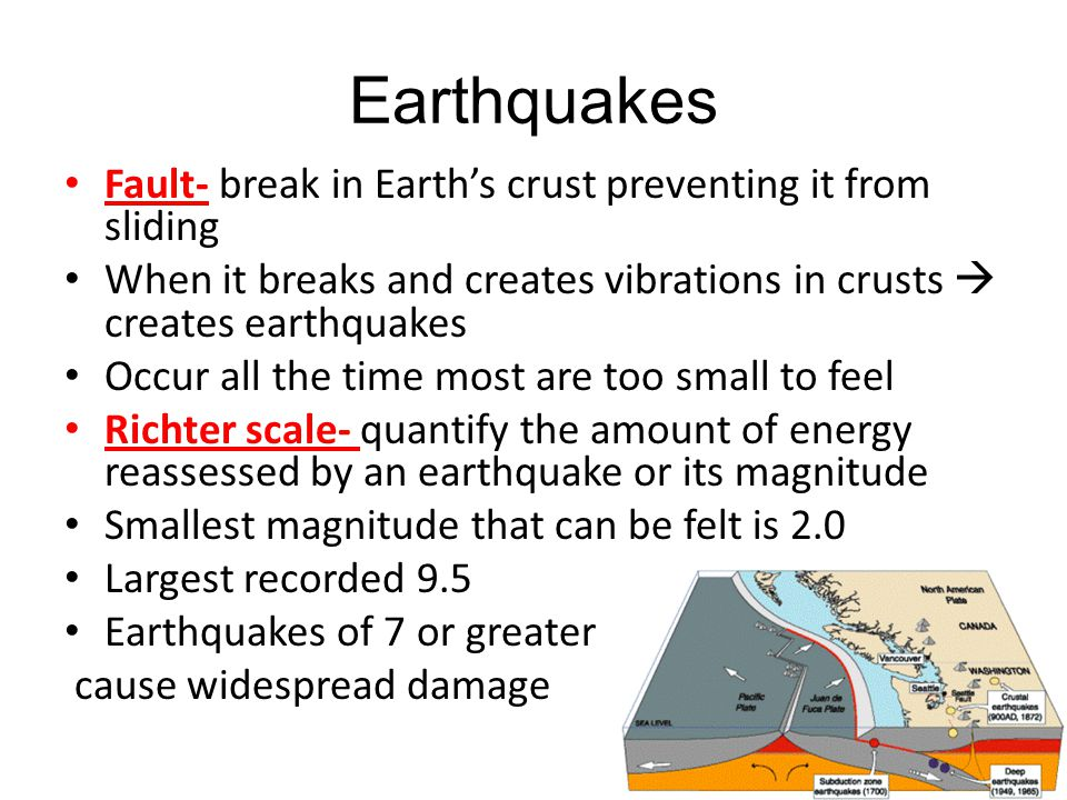 Earthquakes Fault- break in Earth's crust preventing it from sliding