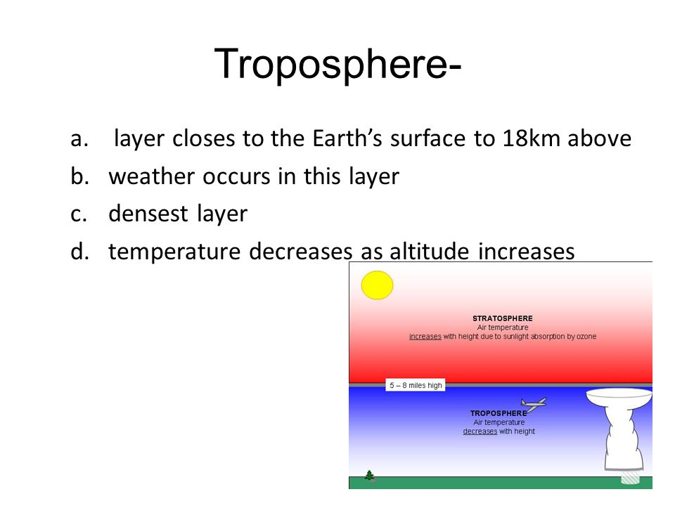 Troposphere- layer closes to the Earth's surface to 18km above