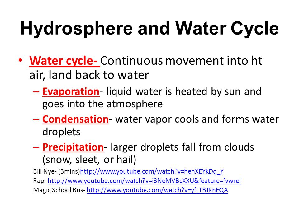 Hydrosphere and Water Cycle