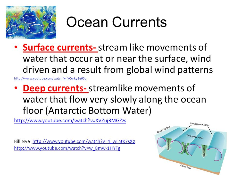 Ocean Currents Surface currents- stream like movements of water that occur at or near the surface, wind driven and a result from global wind patterns.