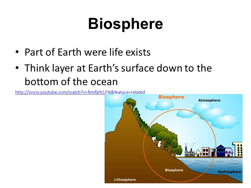 Biosphere Part of Earth were life exists