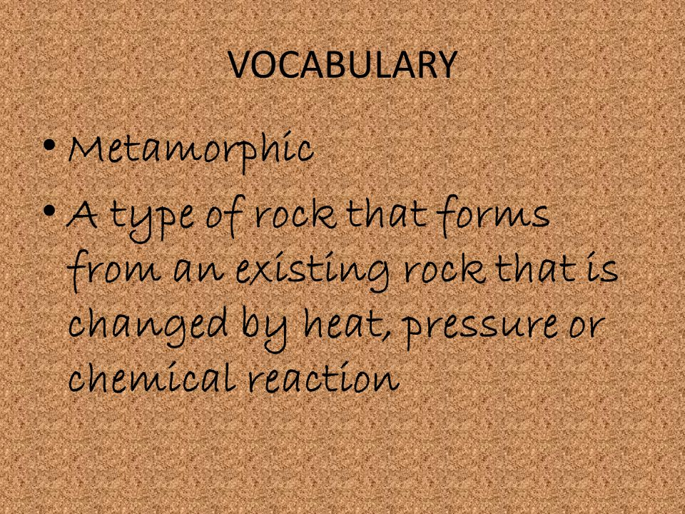 VOCABULARY Metamorphic.