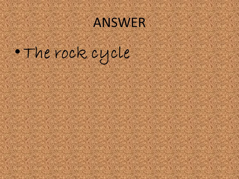 ANSWER The rock cycle