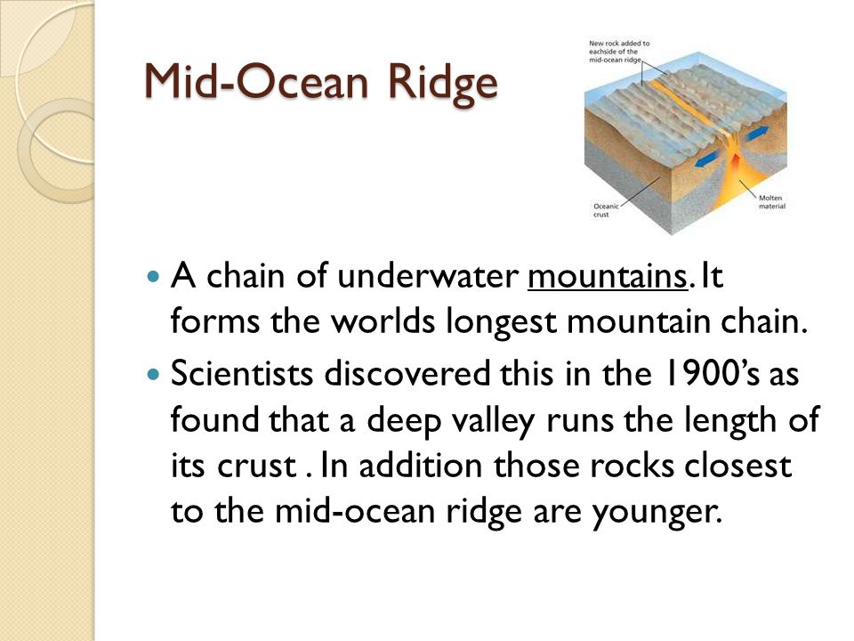 Mid-Ocean Ridge A chain of underwater mountains. It forms the worlds longest mountain chain.