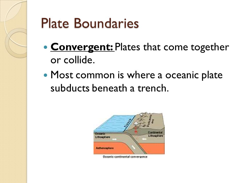 Plate Boundaries Convergent: Plates that come together or collide.