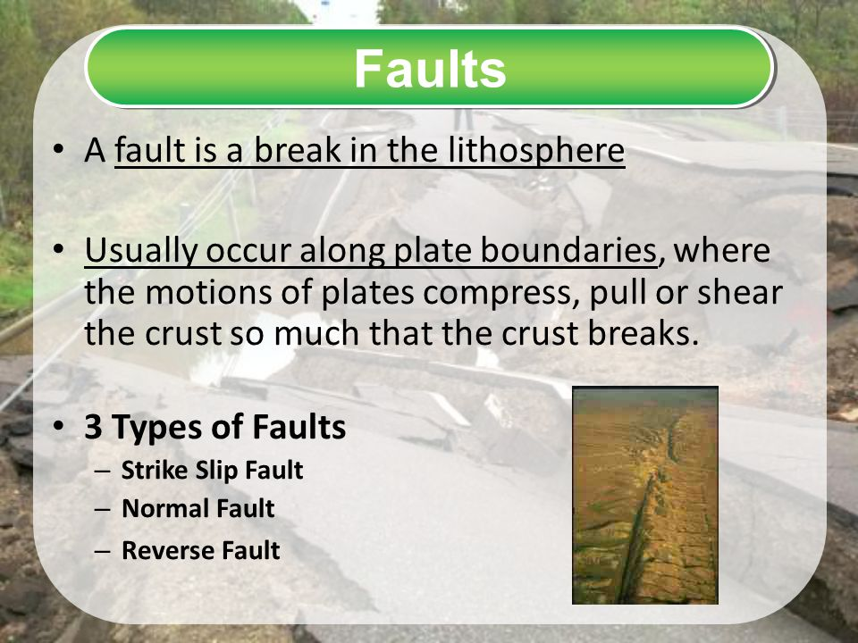 Faults A fault is a break in the lithosphere