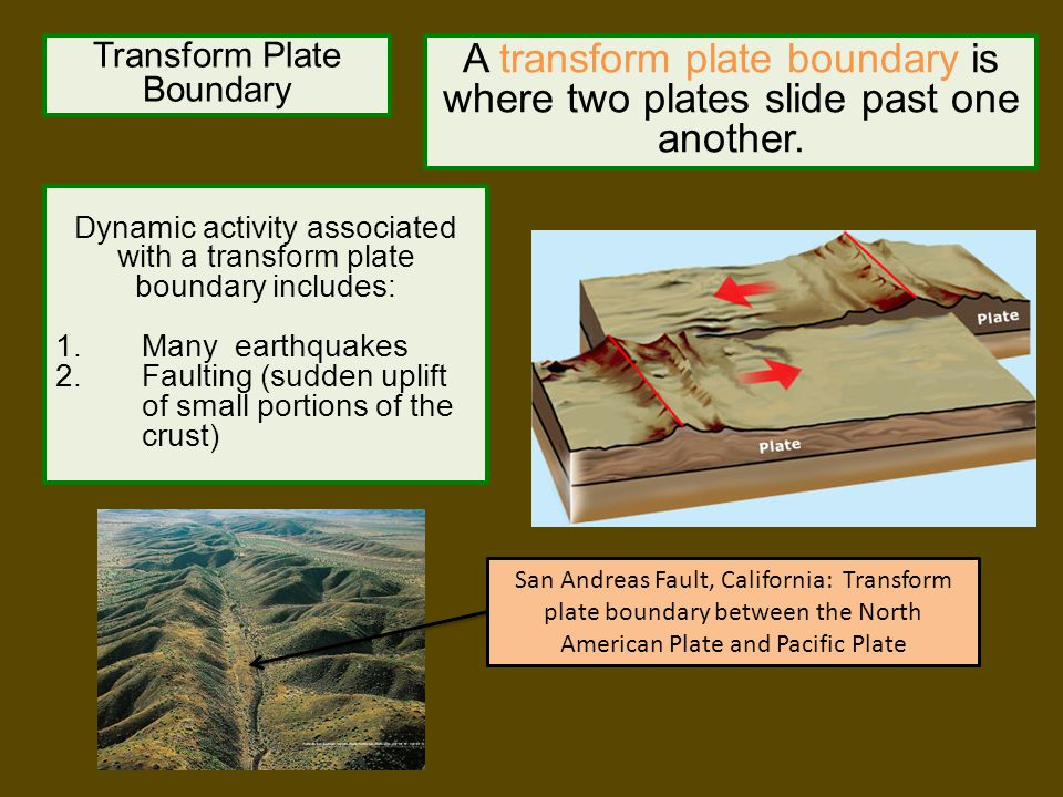 A transform plate boundary is where two plates slide past one another.