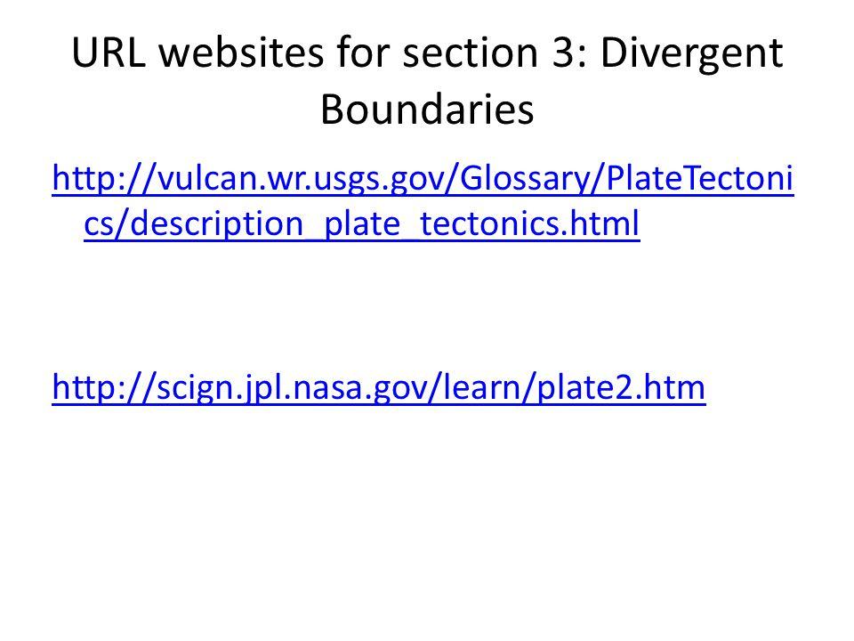 URL websites for section 3: Divergent Boundaries