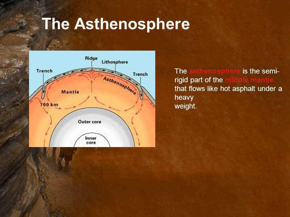 The Asthenosphere The asthenosphere is the semi-rigid part of the middle mantle that flows like hot asphalt under a heavy.
