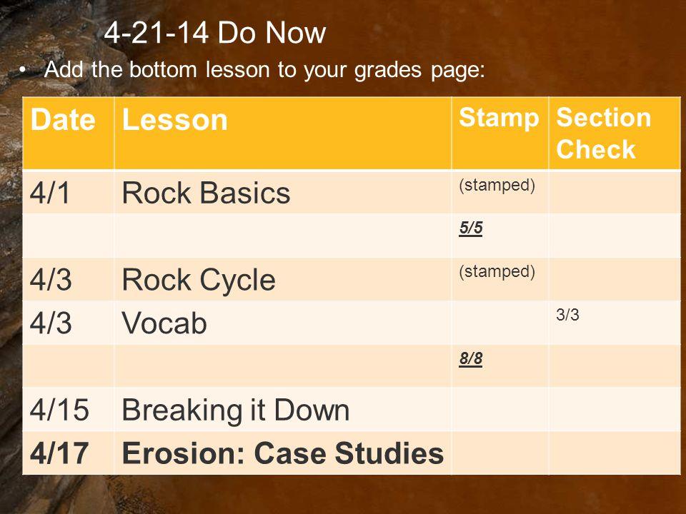 4-21-14 Do Now Date Lesson 4/1 Rock Basics 4/3 Rock Cycle Vocab 4/15