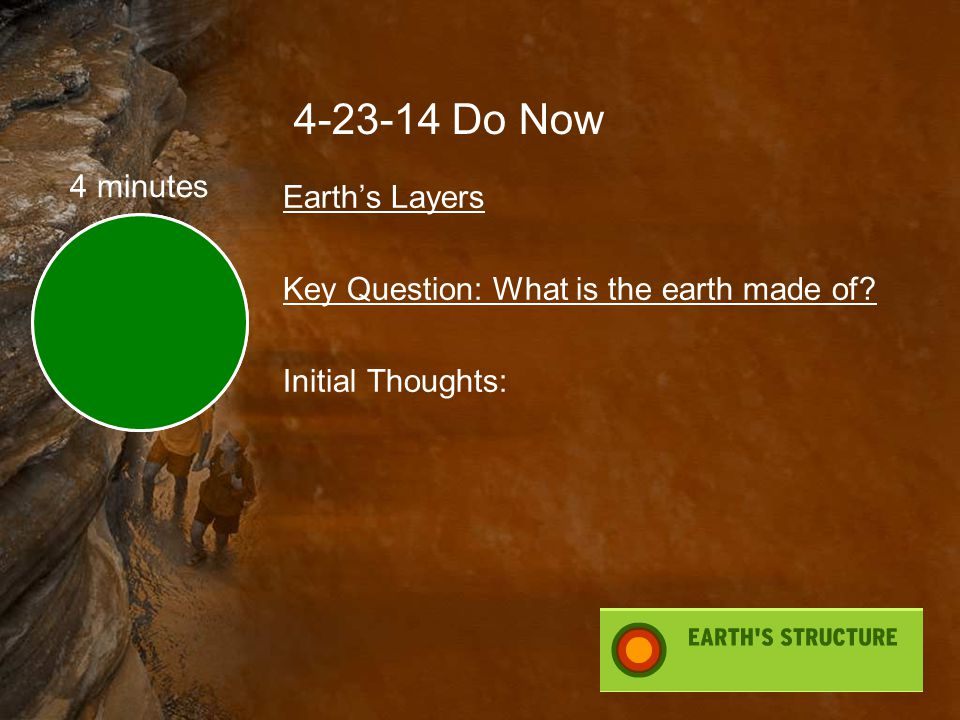 4-23-14 Do Now 4 minutes Earth's Layers Key Question: What is the earth made of Initial Thoughts: