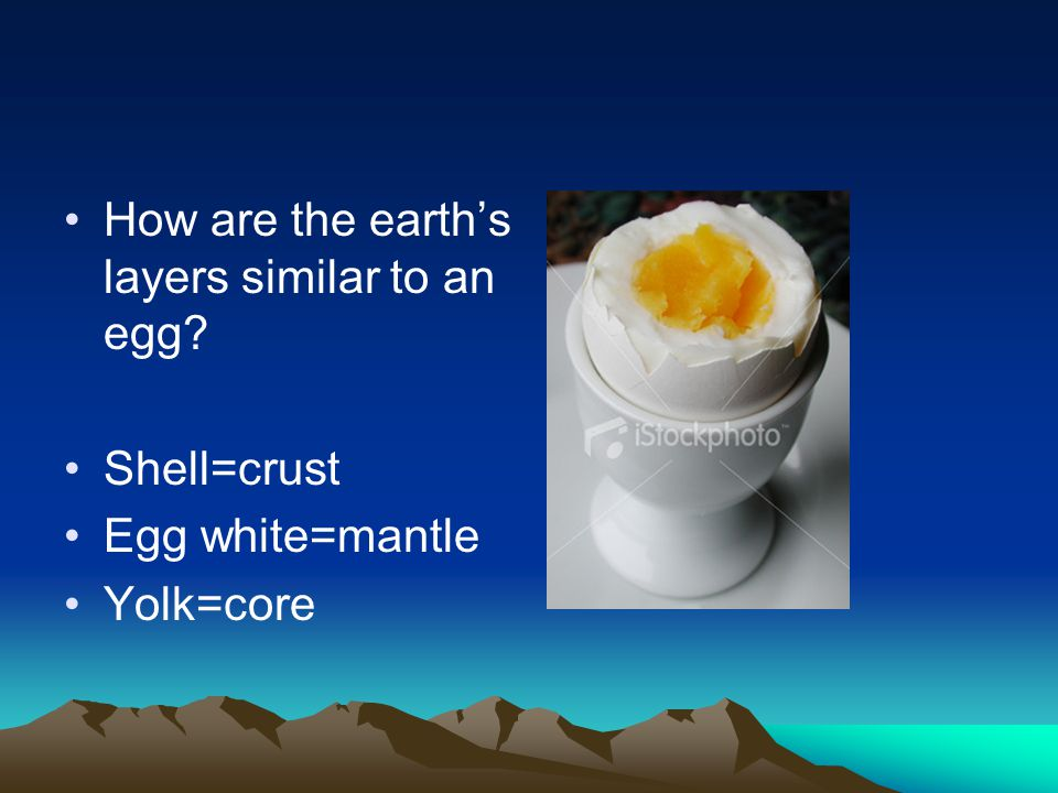 How are the earth's layers similar to an egg