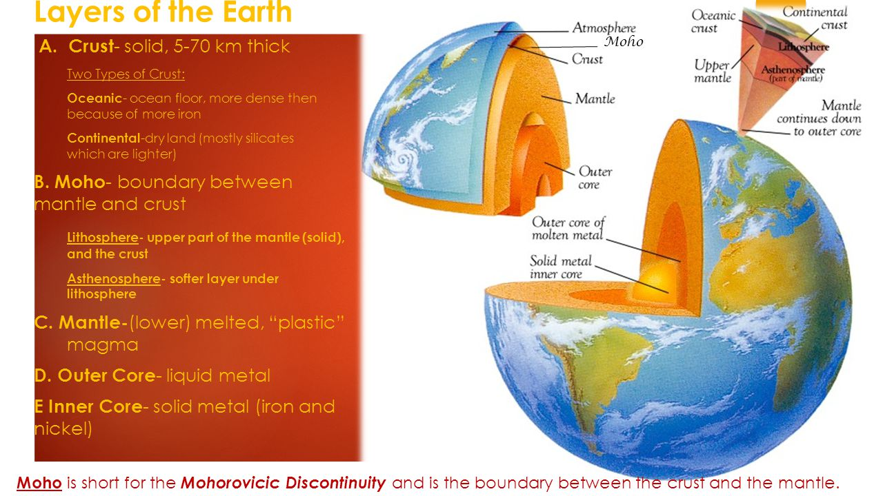 Layers of the Earth A. Crust- solid, 5-70 km thick