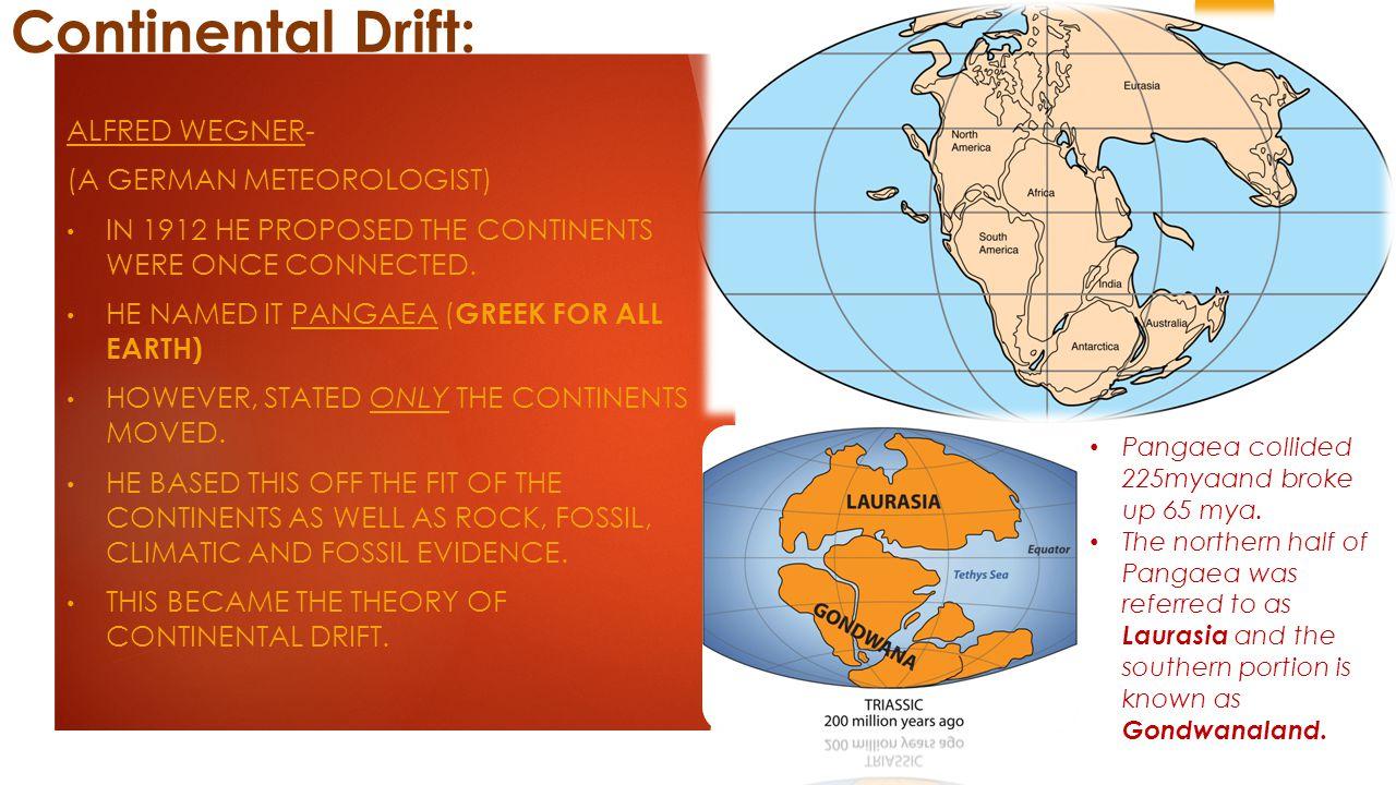Continental Drift: Alfred Wegner- (a German Meteorologist)