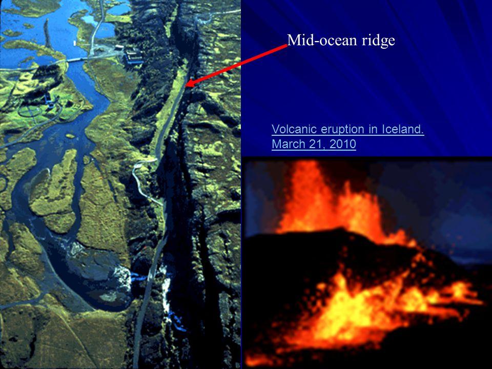 Mid-ocean ridge Volcanic eruption in Iceland. March 21, 2010