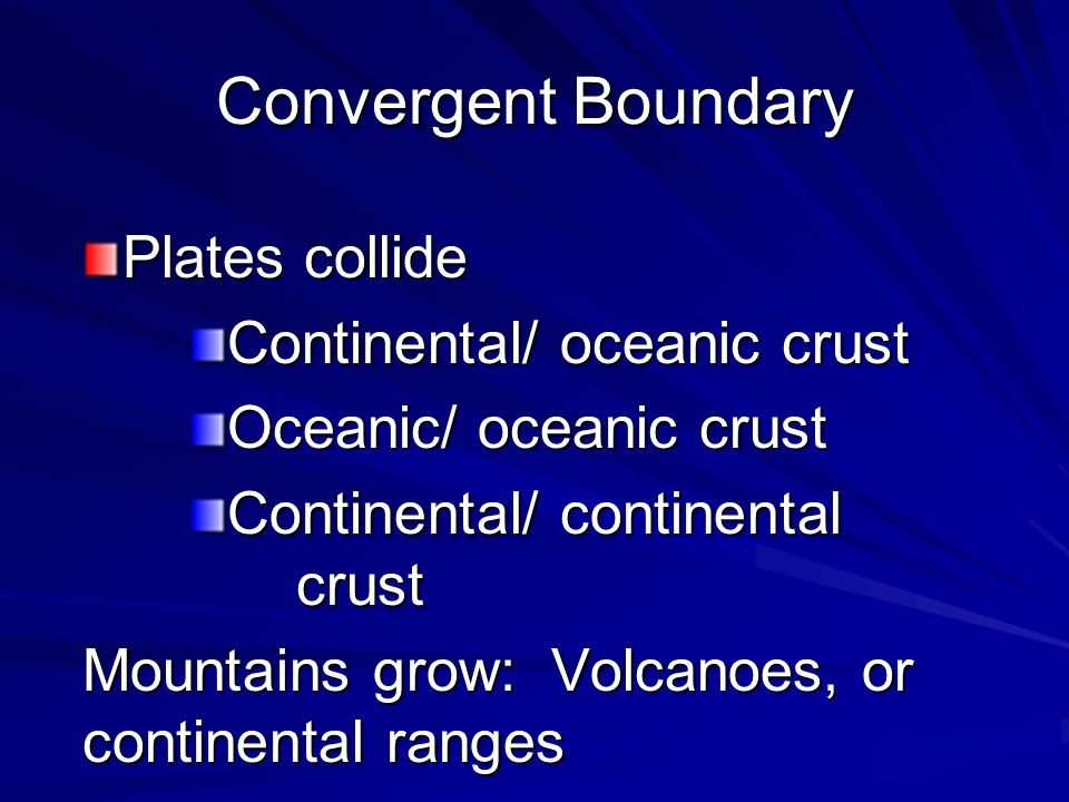 Convergent Boundary Plates collide Continental/ oceanic crust
