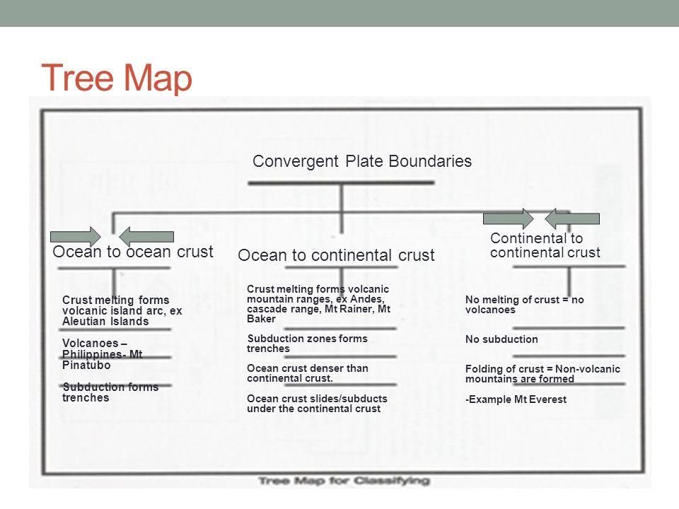 Tree Map Convergent Plate Boundaries Ocean to ocean crust