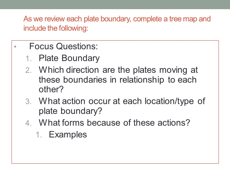 What action occur at each location/type of plate boundary