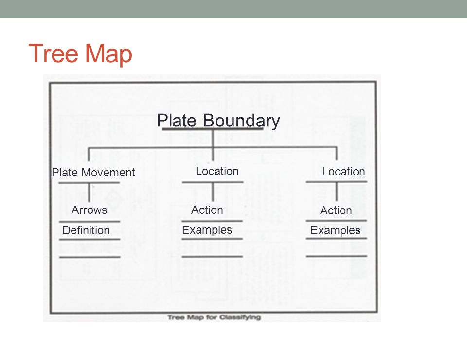Tree Map Plate Boundary Plate Movement Location Location Arrows Action