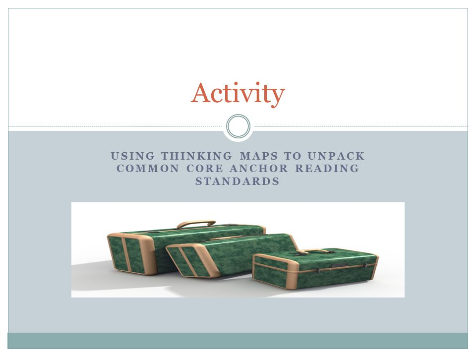 Using Thinking maps to UNPACK Common CORE ANCHOR READING STANDARDS