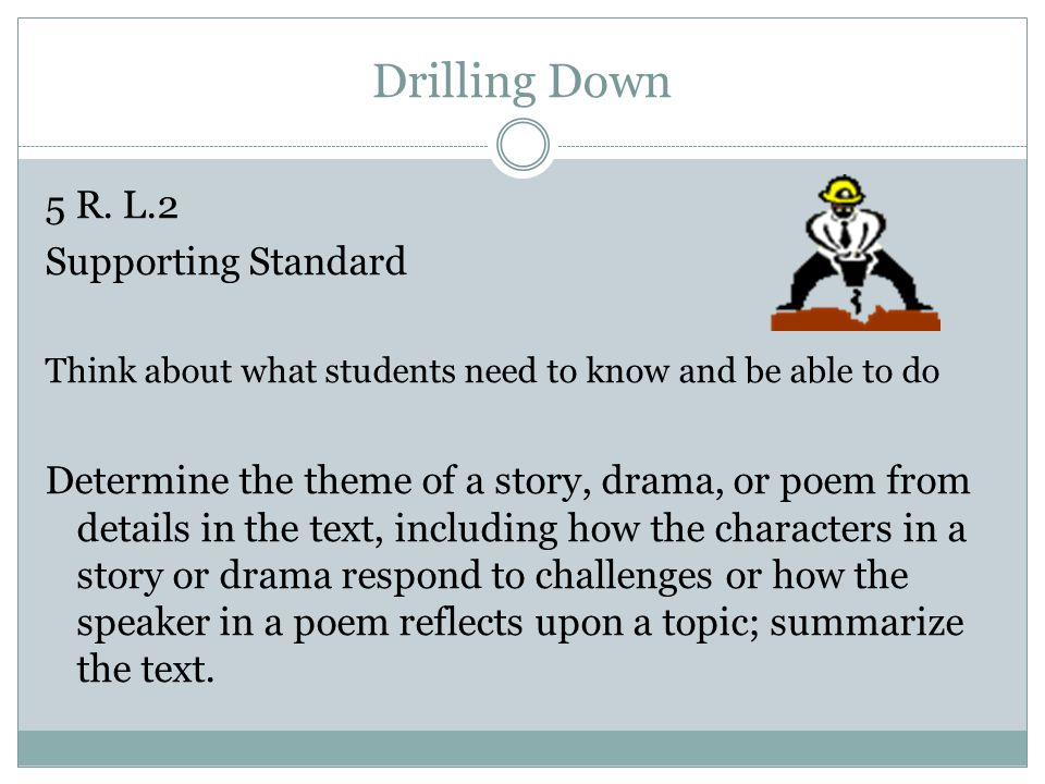 Drilling Down 5 R. L.2 Supporting Standard