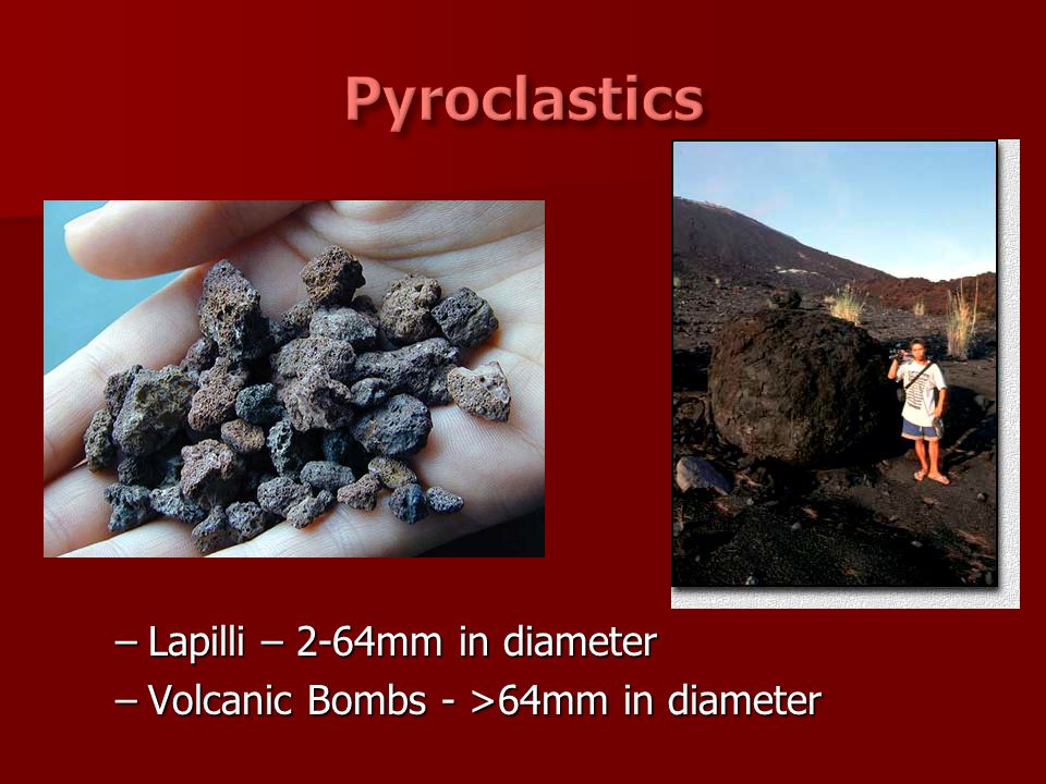 Pyroclastics Lapilli – 2-64mm in diameter