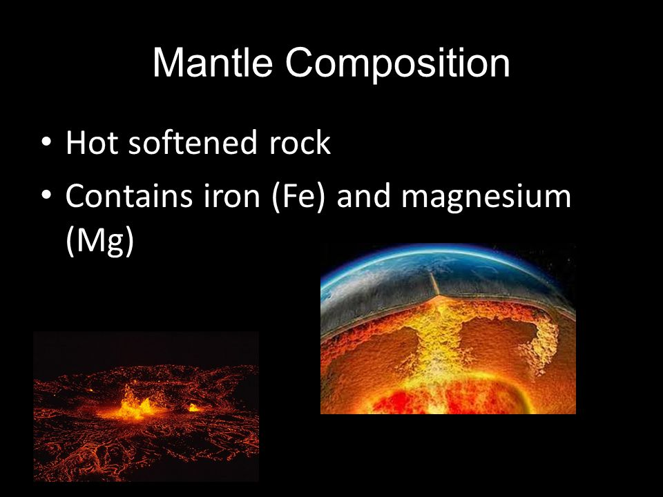 Mantle Composition Hot softened rock