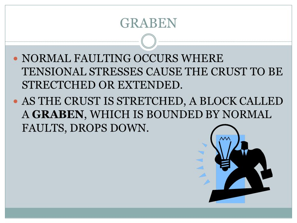 GRABEN NORMAL FAULTING OCCURS WHERE TENSIONAL STRESSES CAUSE THE CRUST TO BE STRECTCHED OR EXTENDED.