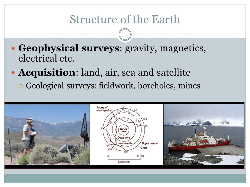 Structure of the Earth Geophysical surveys: gravity, magnetics, electrical etc. Acquisition: land, air, sea and satellite.