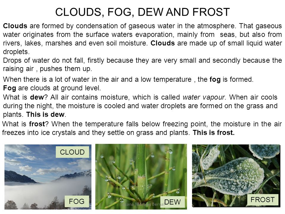 CLOUDS, FOG, DEW AND FROST