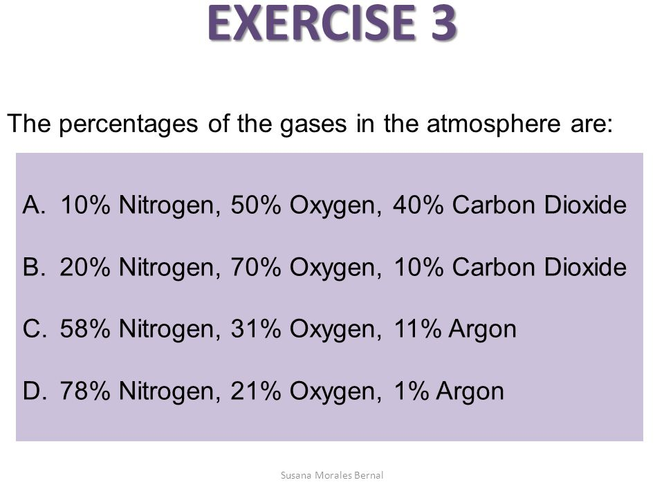 EXERCISE 3 The percentages of the gases in the atmosphere are: