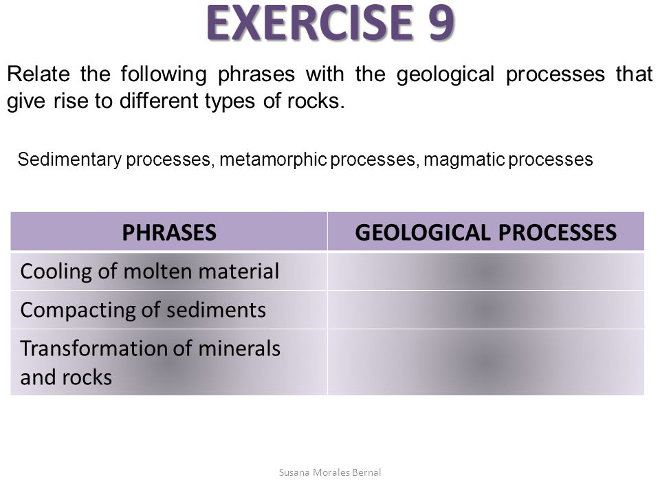 EXERCISE 9 PHRASES GEOLOGICAL PROCESSES Cooling of molten material