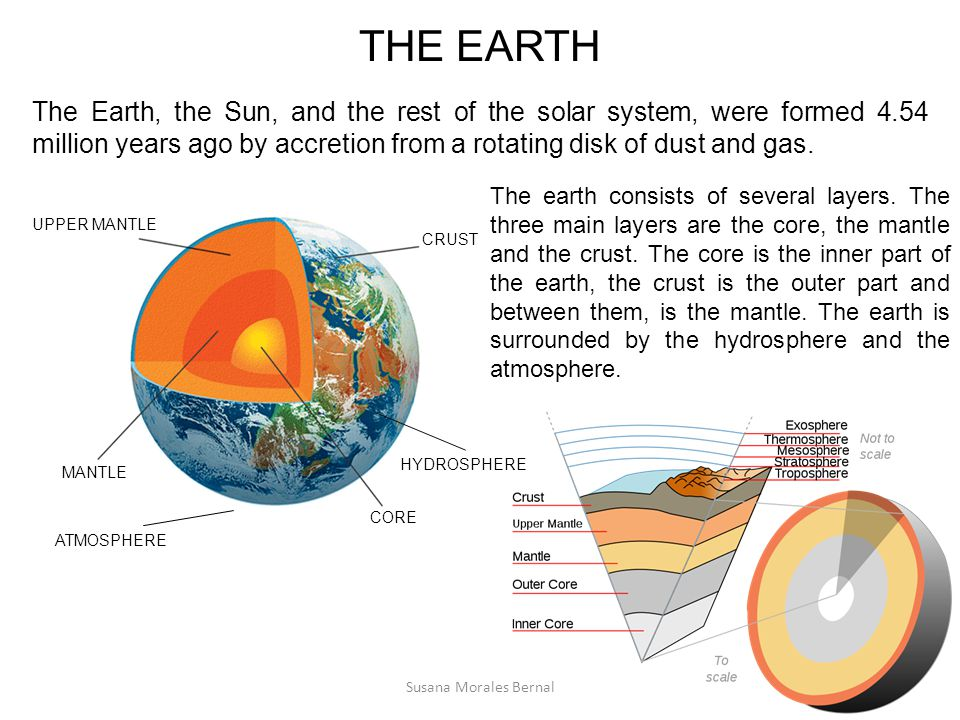 THE EARTH The Earth, the Sun, and the rest of the solar system, were formed 4.54 million years ago by accretion from a rotating disk of dust and gas.