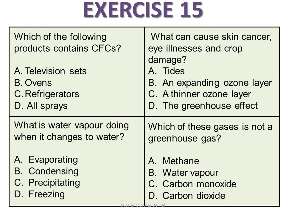EXERCISE 15 Which of the following products contains CFCs