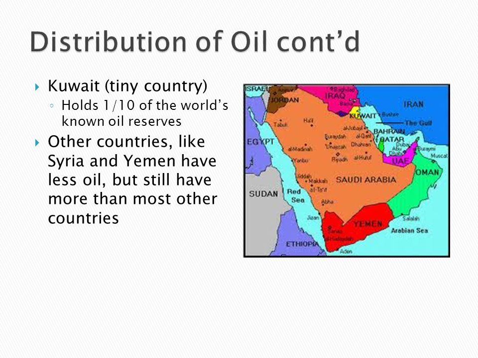 Distribution of Oil cont'd