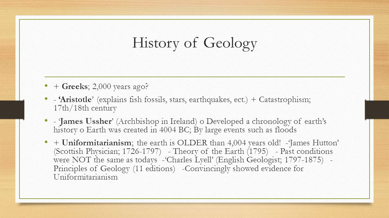 History of Geology + Greeks; 2,000 years ago