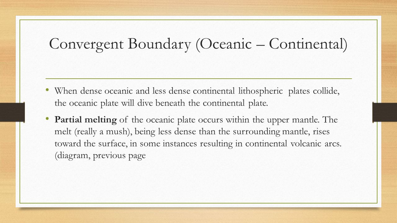 Convergent Boundary (Oceanic – Continental)