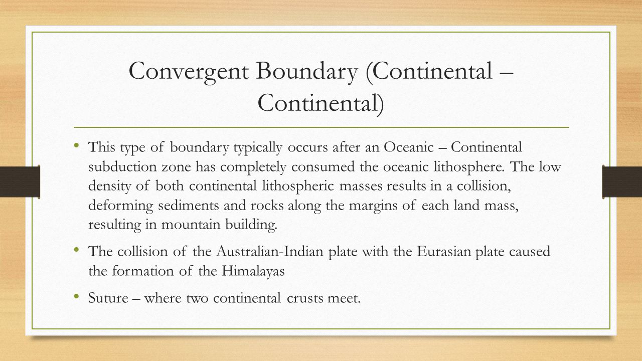 Convergent Boundary (Continental – Continental)