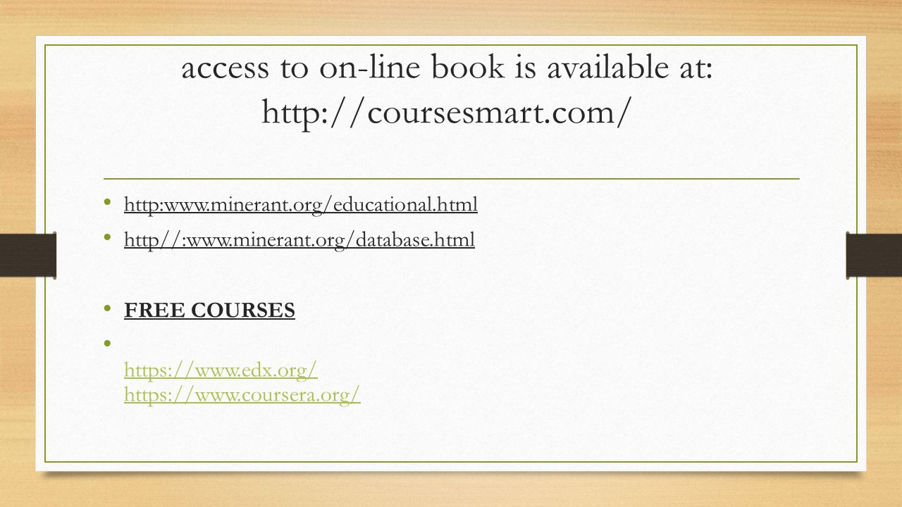 access to on-line book is available at: http://coursesmart.com/