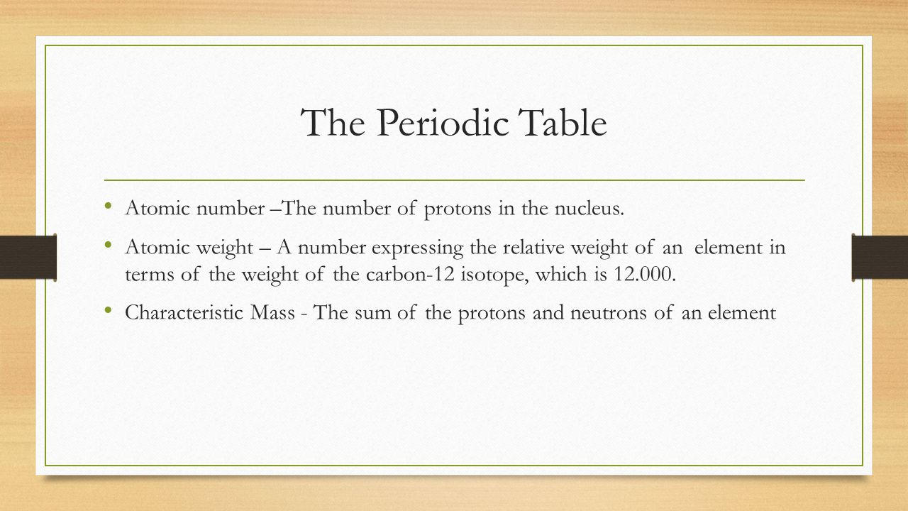 The Periodic Table Atomic number –The number of protons in the nucleus.