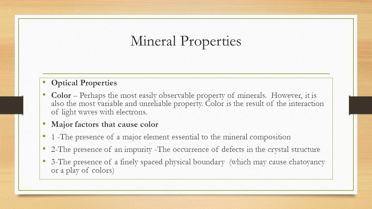 Mineral Properties Optical Properties