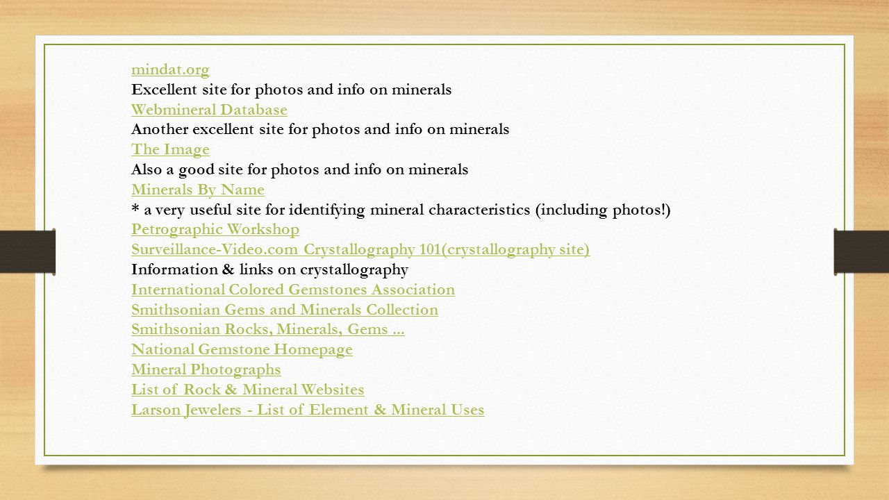 mindat.org Excellent site for photos and info on minerals