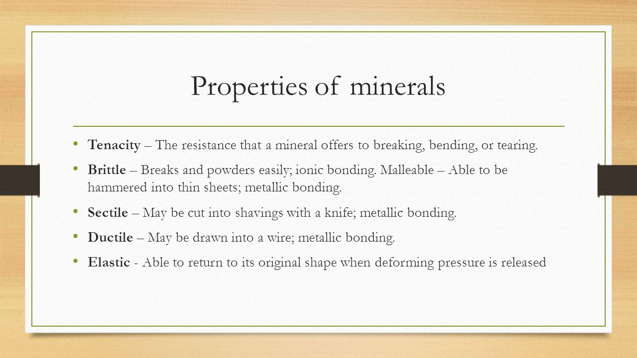 Properties of minerals
