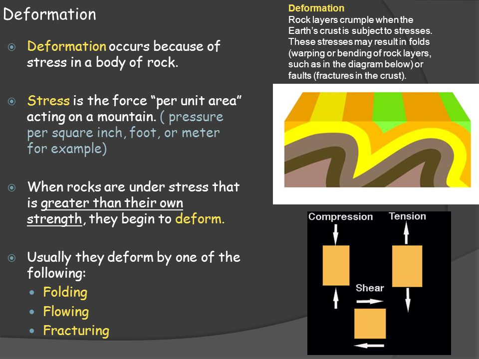 Deformation Deformation occurs because of stress in a body of rock.