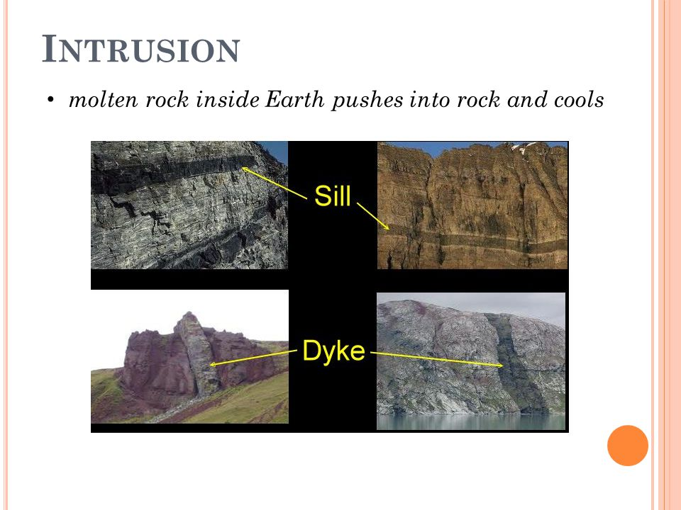 Intrusion molten rock inside Earth pushes into rock and cools