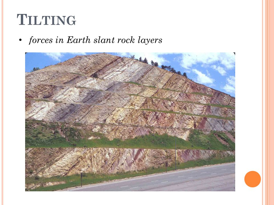 Tilting forces in Earth slant rock layers