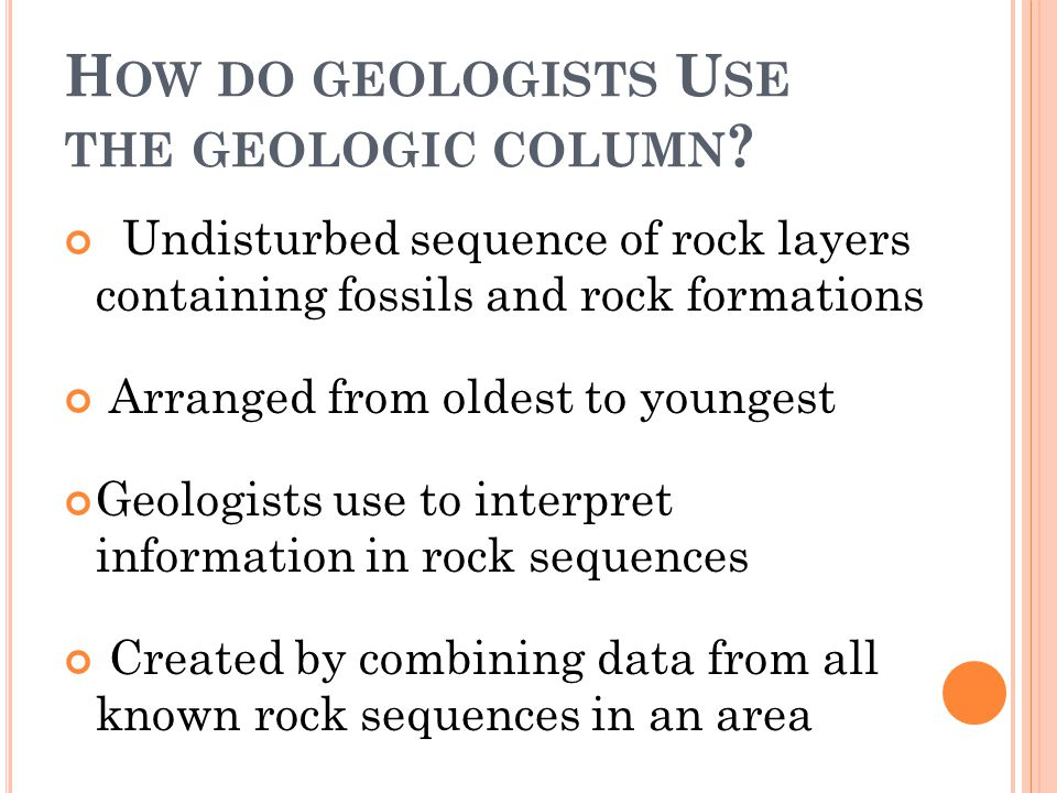How do geologists Use the geologic column
