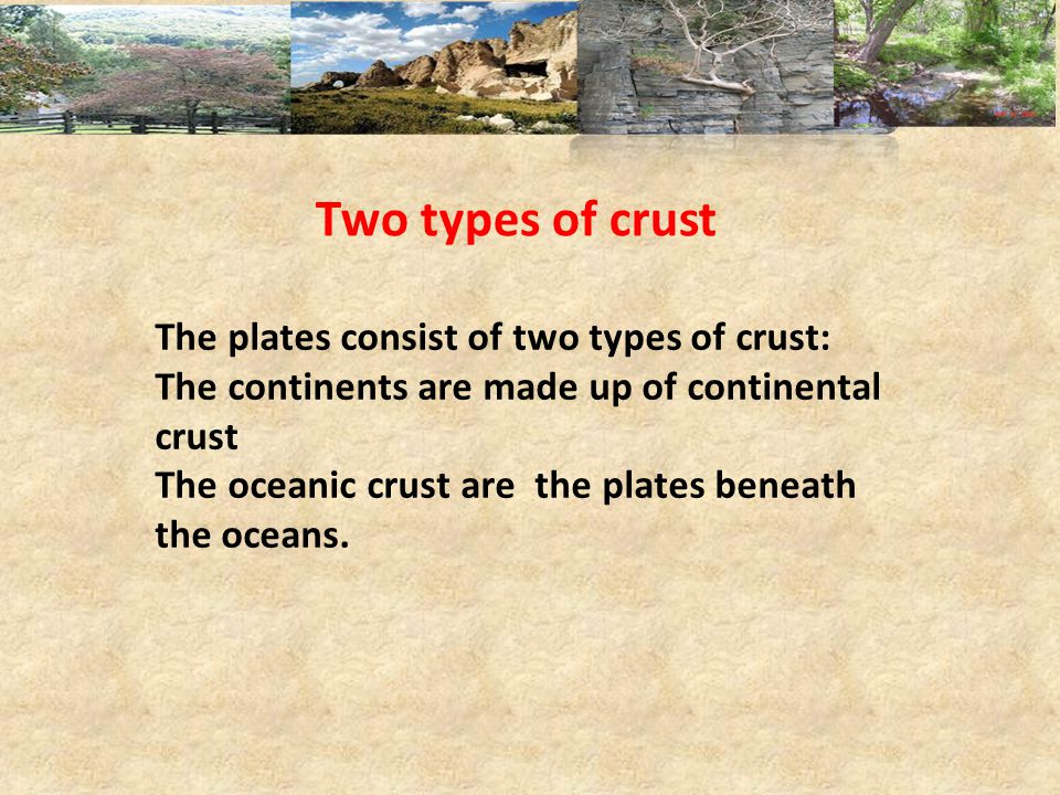 Two types of crust The plates consist of two types of crust:
