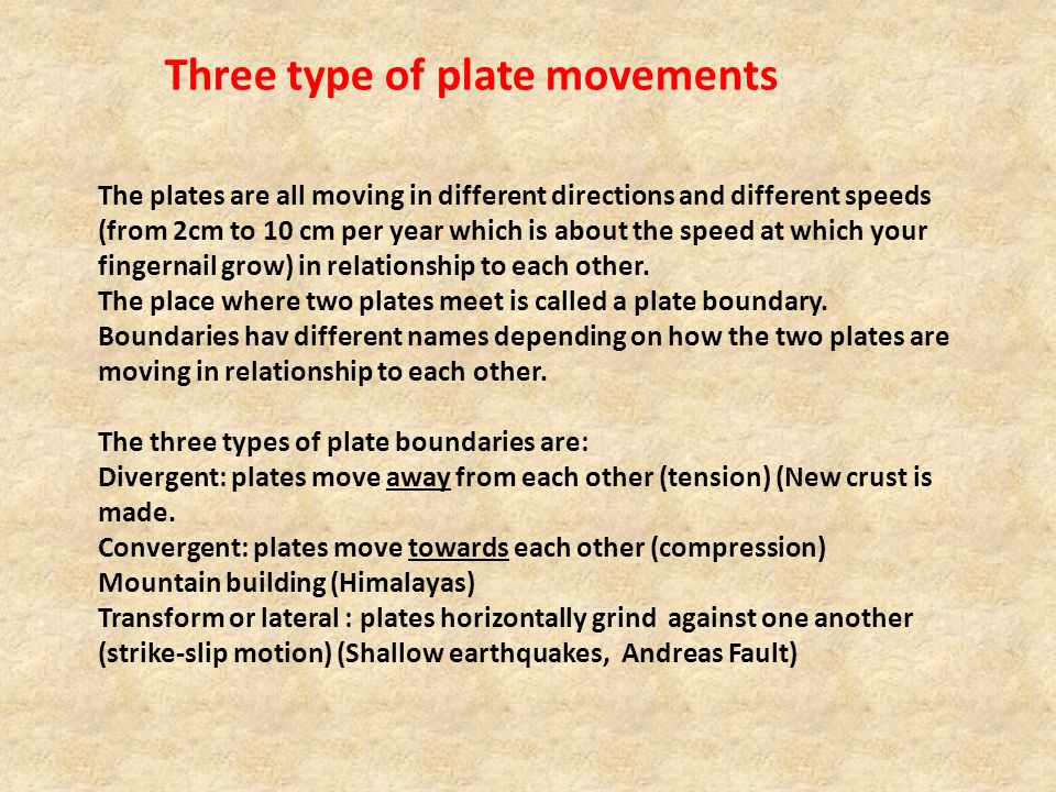 Three type of plate movements
