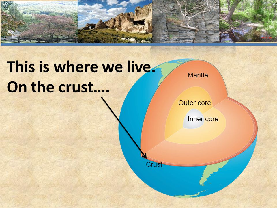This is where we live. On the crust…. Mantle Outer core Inner core